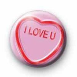 I love u pink candy heart badge