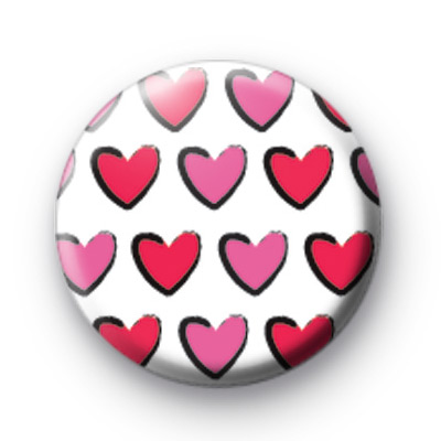 Pink Love Hearts Pattern Badges