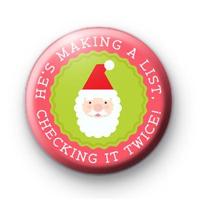 Santa Christmas List Button Badge