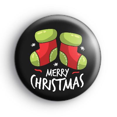 Black Merry Christmas Stockings Badge