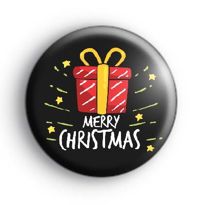 Black Merry Christmas Present Badge