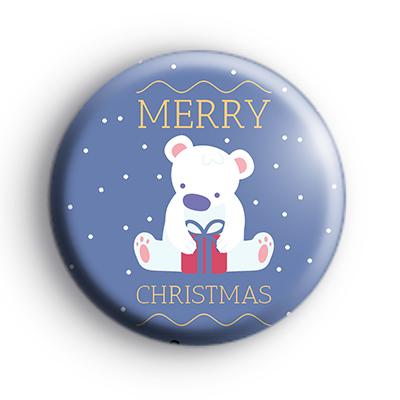 Relaxed Merry Christmas Teddy Bear Badge