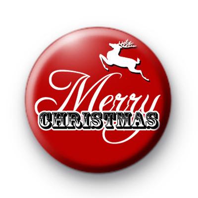 Red Merry Christmas Reindeer Badge