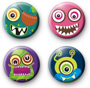 Set of 4 Monster Button Badges