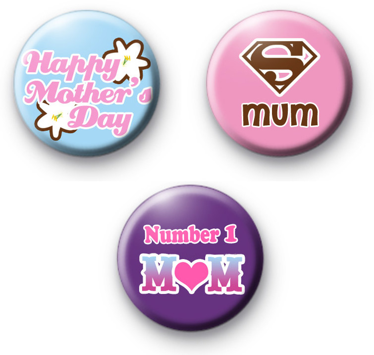 Cute Set of 3 Mothers Day Badges
