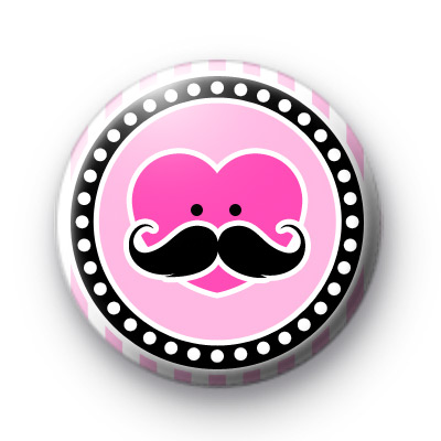 Moustache Heart Face Pink Badge