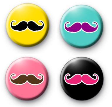 Set of 4 Moustache Badges Movember