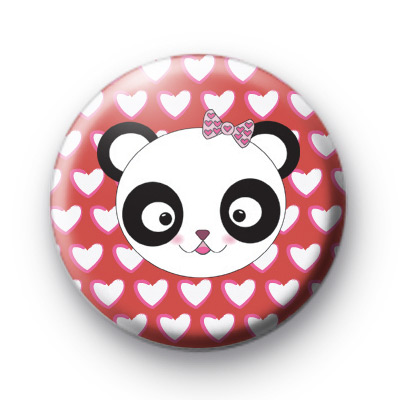 Mrs Panda Bear Love Hearts Badge