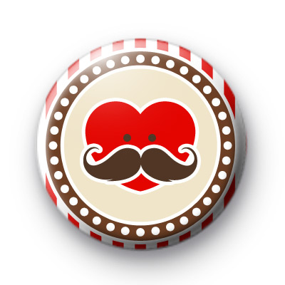 Moustache Heart Button Badges