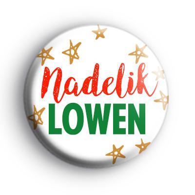 Nadelik Lowen Cornish Merry Christmas Badge
