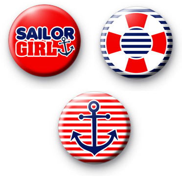 Set of 3 Nautical Themed Button Badges