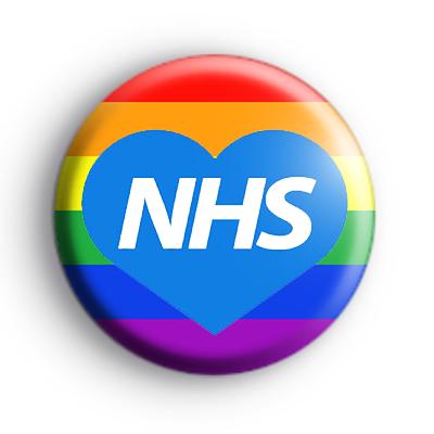 NHS Blue Love Heart Rainbow Badge