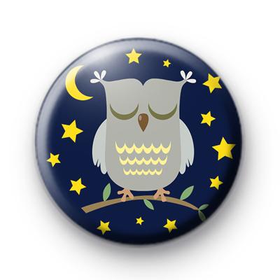 Sleepy Night Owl Pin Badge