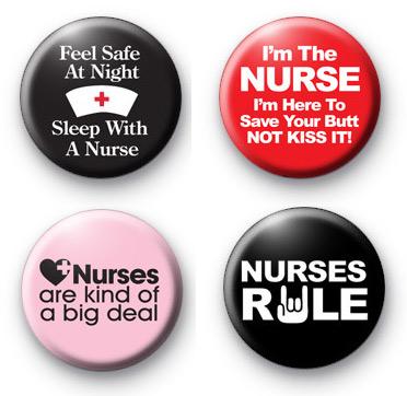Set of 4 Nurse button badges