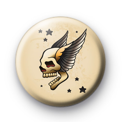 Old School Skull Wings Tattoo Button Badges