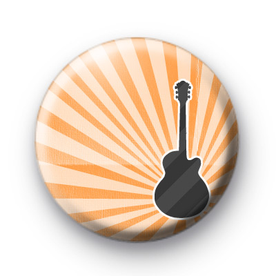 Orange Guitar Button Badges