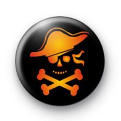 Orange Pirate Skull Badge