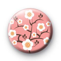 Pink Oriental Flower Blossom Badges