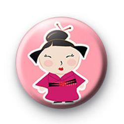 Pink Cute Oriental Girl Badge