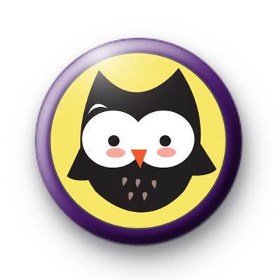 Wise Purple Halloween Owl Badge