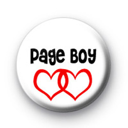 Red Love Hearts Page Boy wedding badges