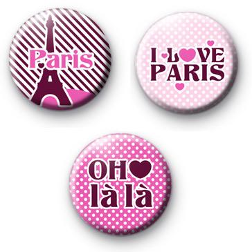 Cute set of 3 Parisian Button Badges