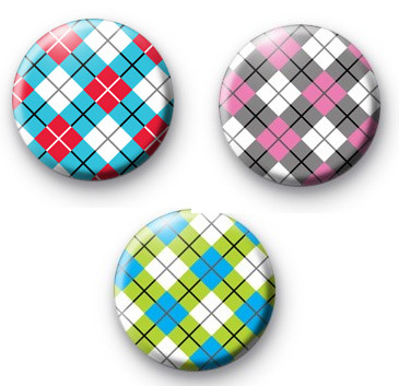 Set of 3 Argyle Pattern Badge Pack