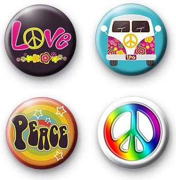Set of 4 Peace button badges