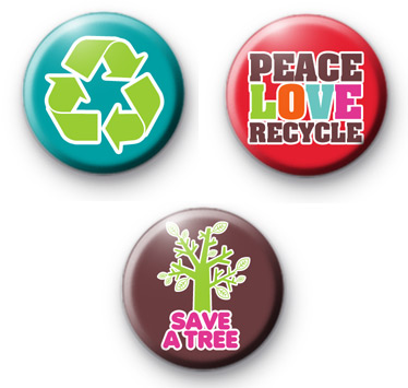 Set of 3 Bright Recycle Green Badges