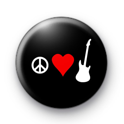Peace Love Guitar Badges