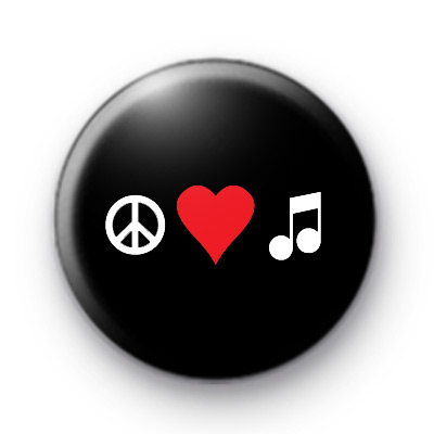 Peace Love Musical Notes Button Badges