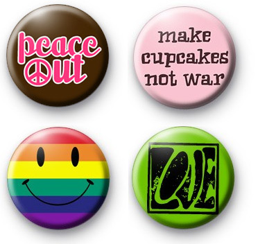 Set of 4 Peace Love Badges