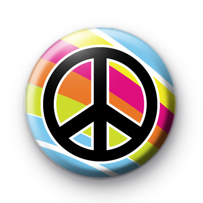 Bright Rainbow Peace Pin Badge