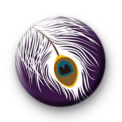Peacock Feather Button Badge