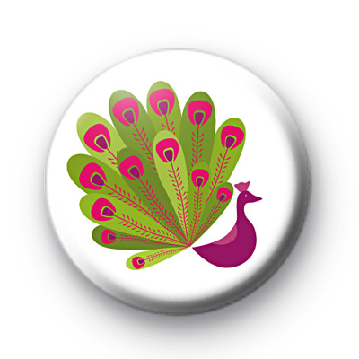 Peacock Pink Button Badges