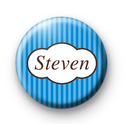 Bright Blue Stripey Personalised Name Badge