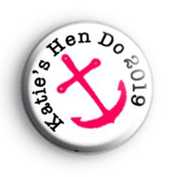 Pink Anchor Nautical Hen Do Badge