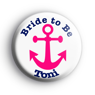Pink Anchor Blue Text Hen Party Badge