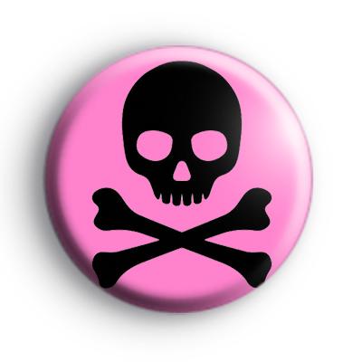 Black and Pink Emo Skull Badge