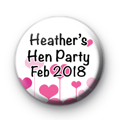 Pink Hearts Hen Party Badge