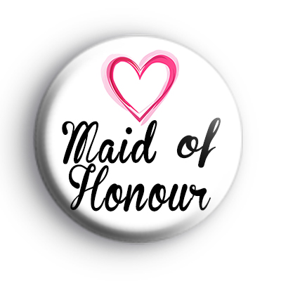 Pink Hearts Maid of Honour Badge