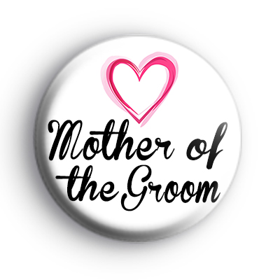 Pink Hearts Mother of the Groom Badge