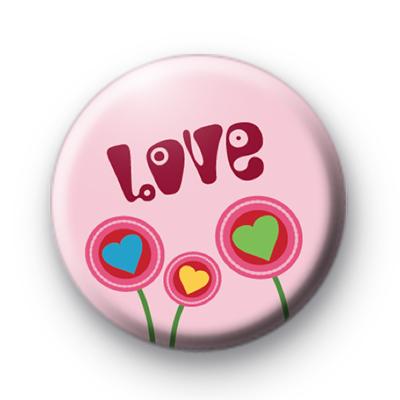 Pink Retro LOVE Flowers Badge