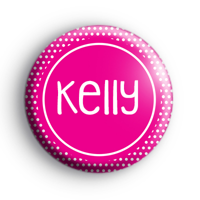 White and Pink Spotty Custom Name Badge