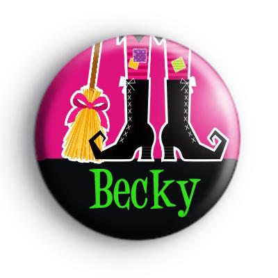 Custom Name Witch Feet Pink Badge