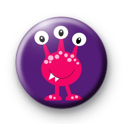 Pink Three Eyed Monster Badge