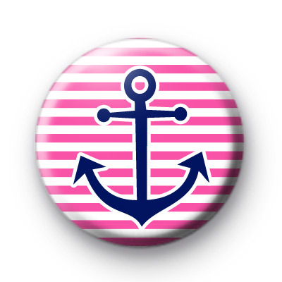 Pink and Blue Anchor Sailor Button Badges