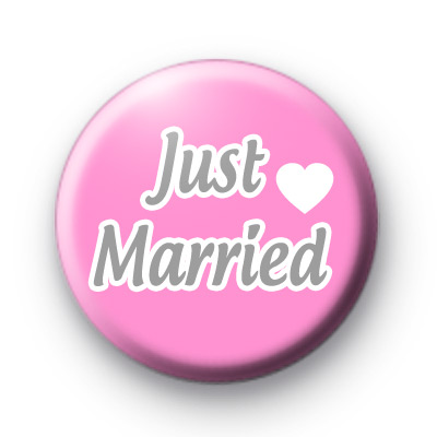 Pink and Grey Just Married badge