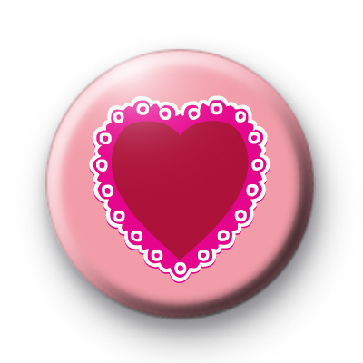 Pink and Red Valentines Heart Badge