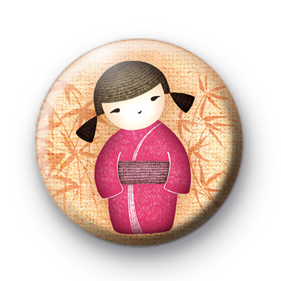 Pink Asian Kawaii Girl Badges